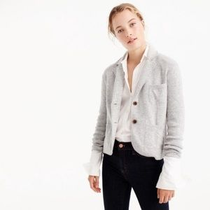 J Crew Cropped Gray Wool Blend Sweater Blazer L